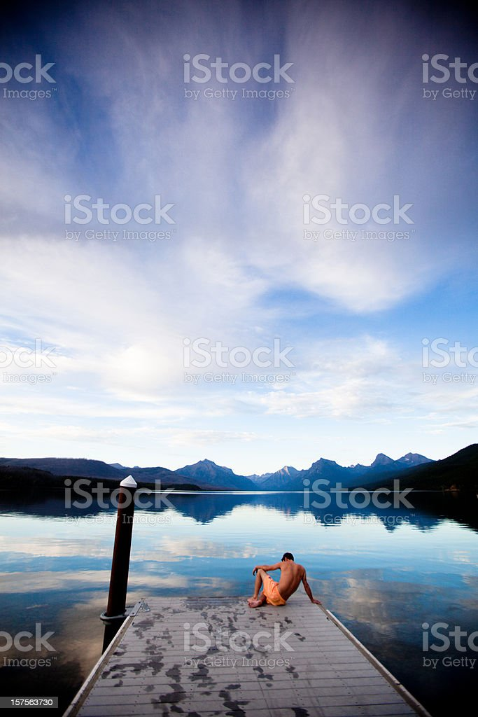 Sunset over a beautiful mountain lake royalty-free stock photo