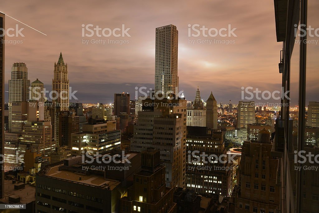 Sunset over a dark Manhattan post Hurricane Sandy stock photo