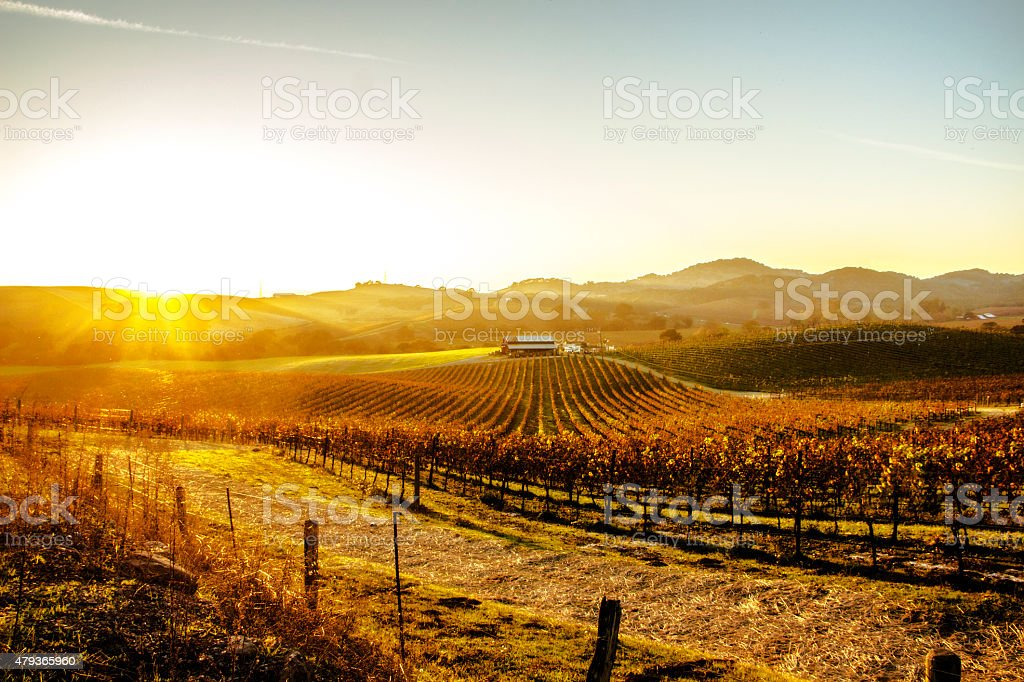 Sunset over a Farmhouse stock photo