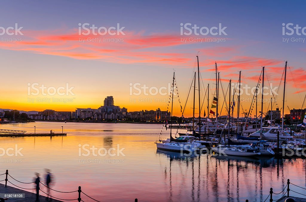Sunset over a Harbour stock photo