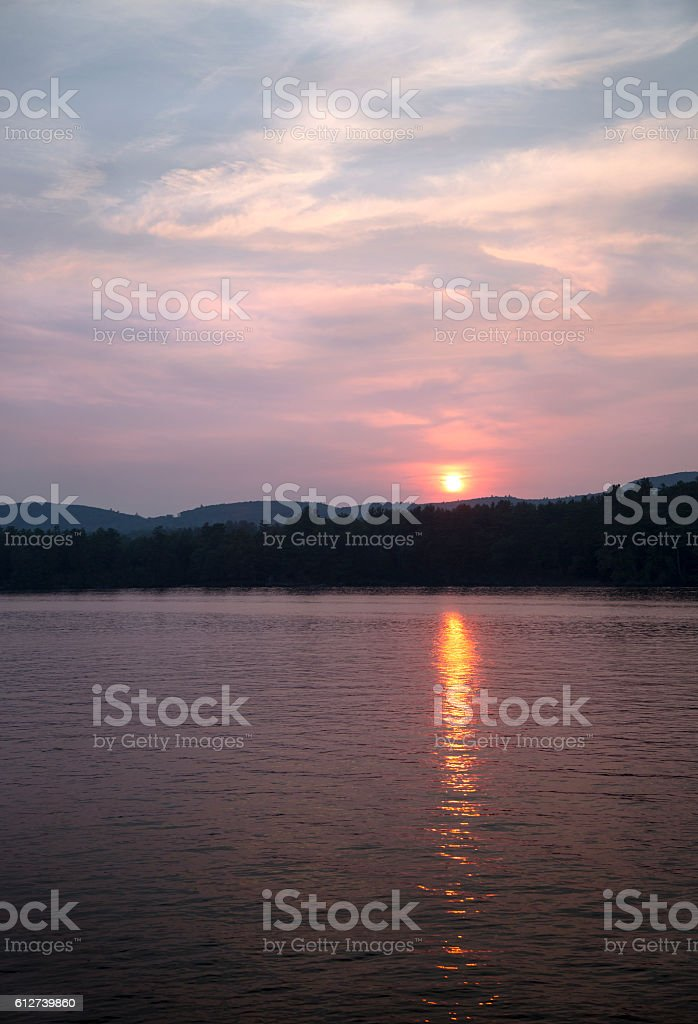 Sunset over a Lake stock photo