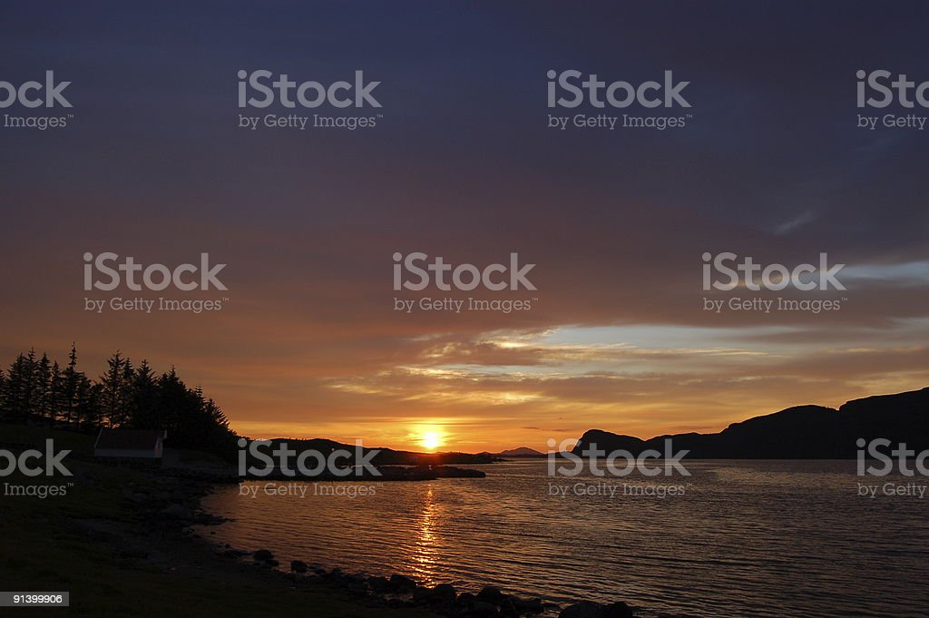 Sunset over a Norwegian Fjord stock photo