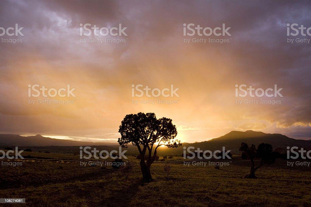 Sunset over Abiquiu stock photo