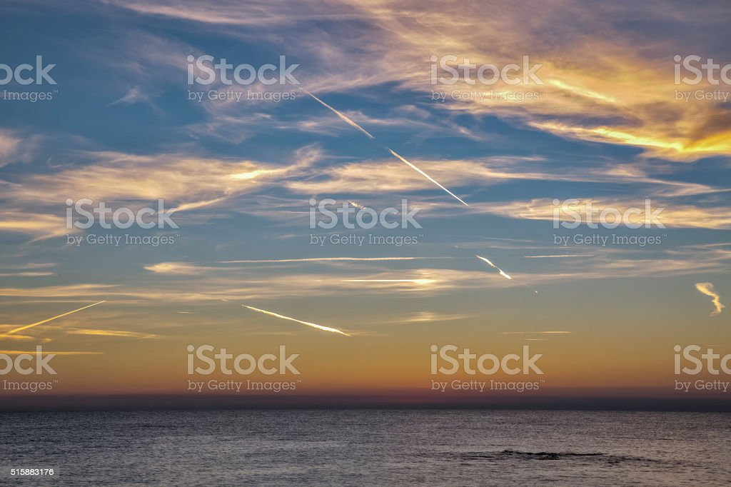 Sunset over Adriatic Sea in Croatia stock photo