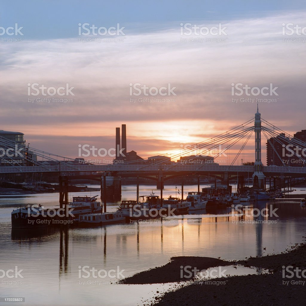 Sunset Over Albert Bridge in London, England stock photo