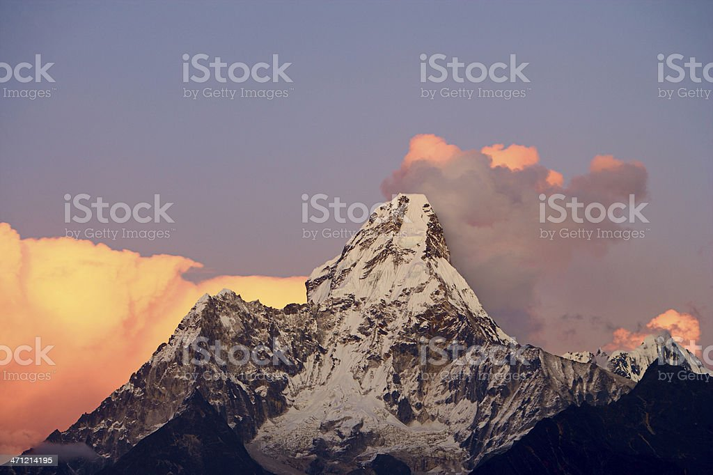 Sunset over Ama Dablam stock photo
