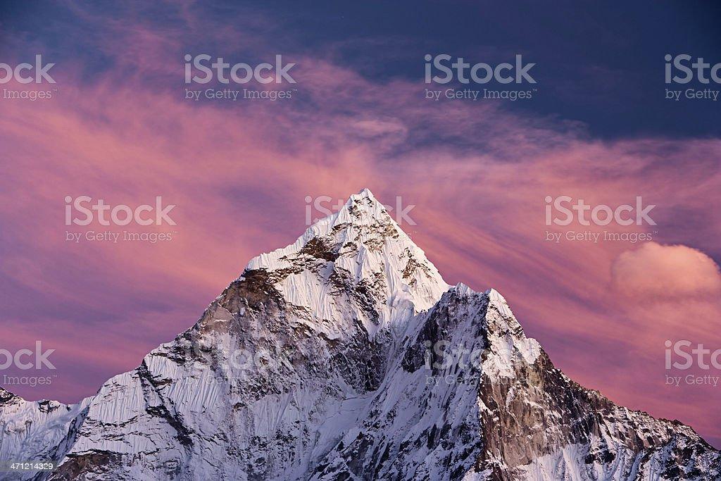 Sunset over Ama Dablam royalty-free stock photo