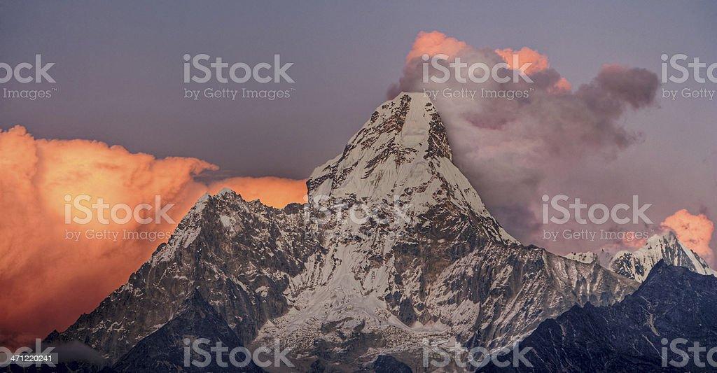 Sunset over Ama Dablam stock photo