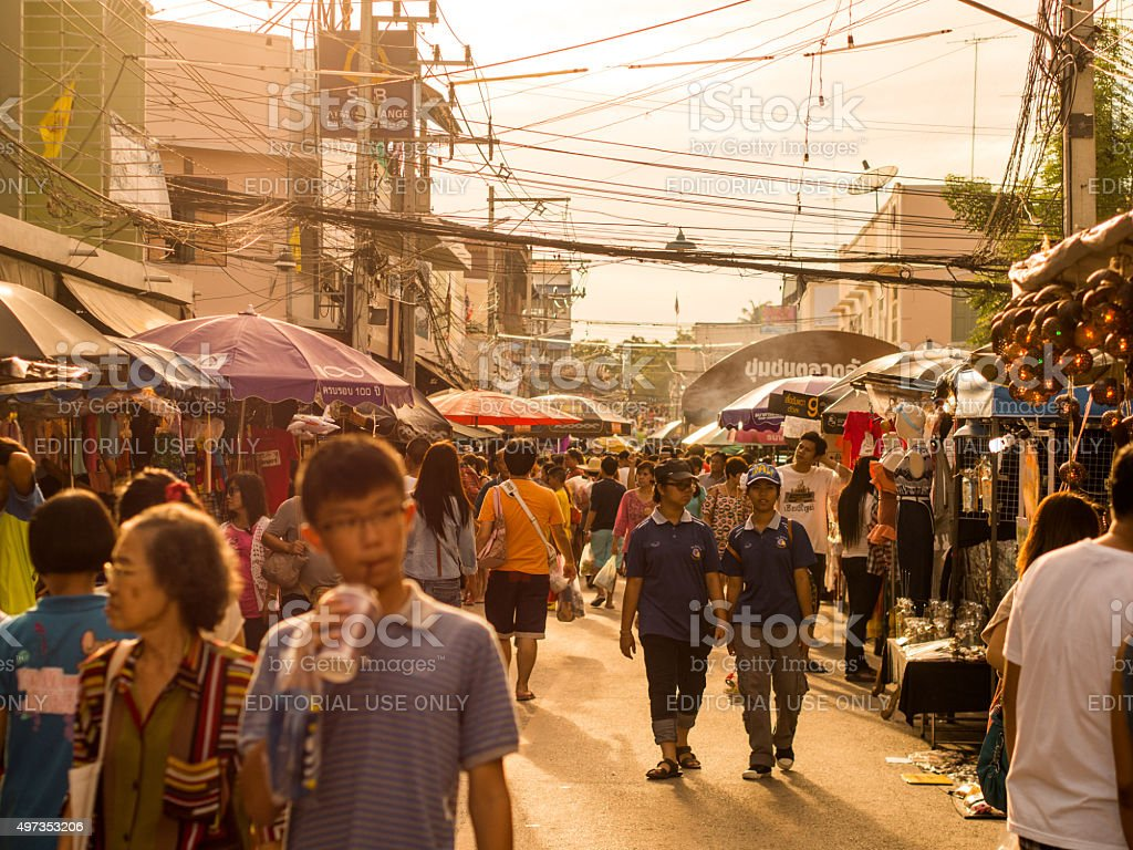 Sunset over Amphawa district in Samut Songkhram, Thailand stock photo