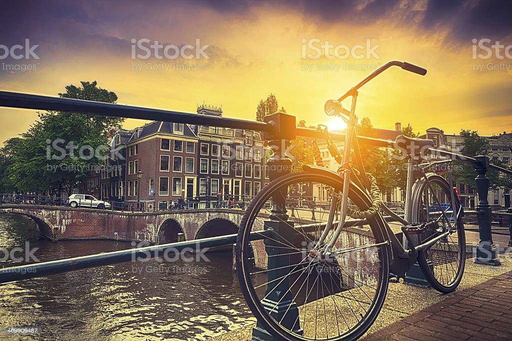 Sunset over Amsterdam stock photo