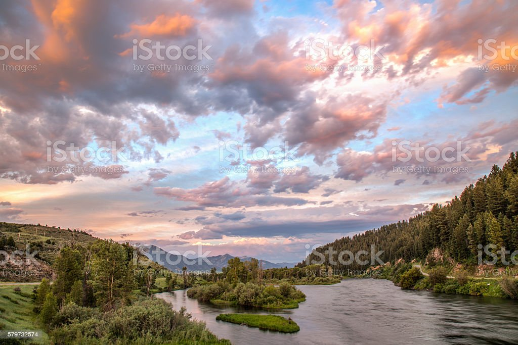 Sunset over an Idaho River stock photo