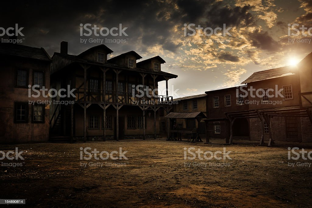 Sunset over ancient town stock photo
