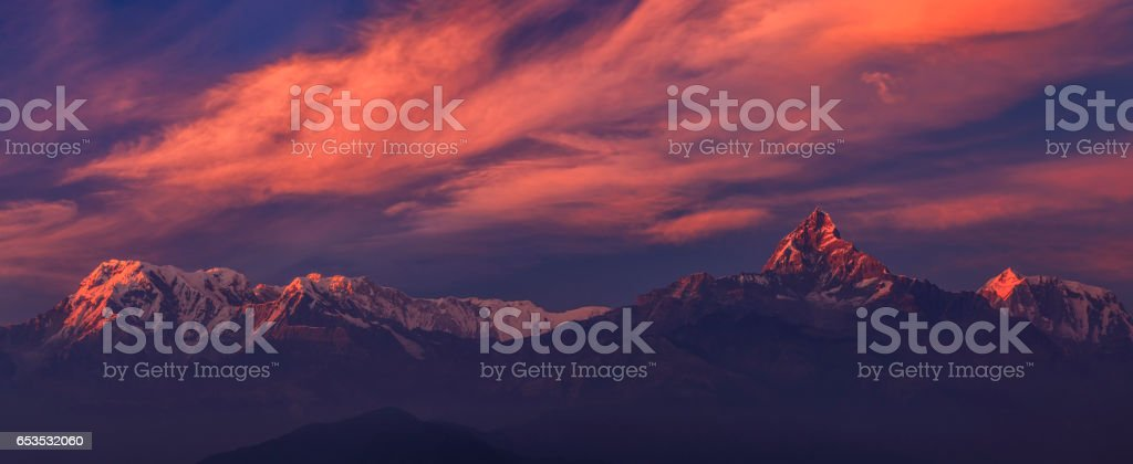 Sunset over Annapurna Range, Nepal stock photo
