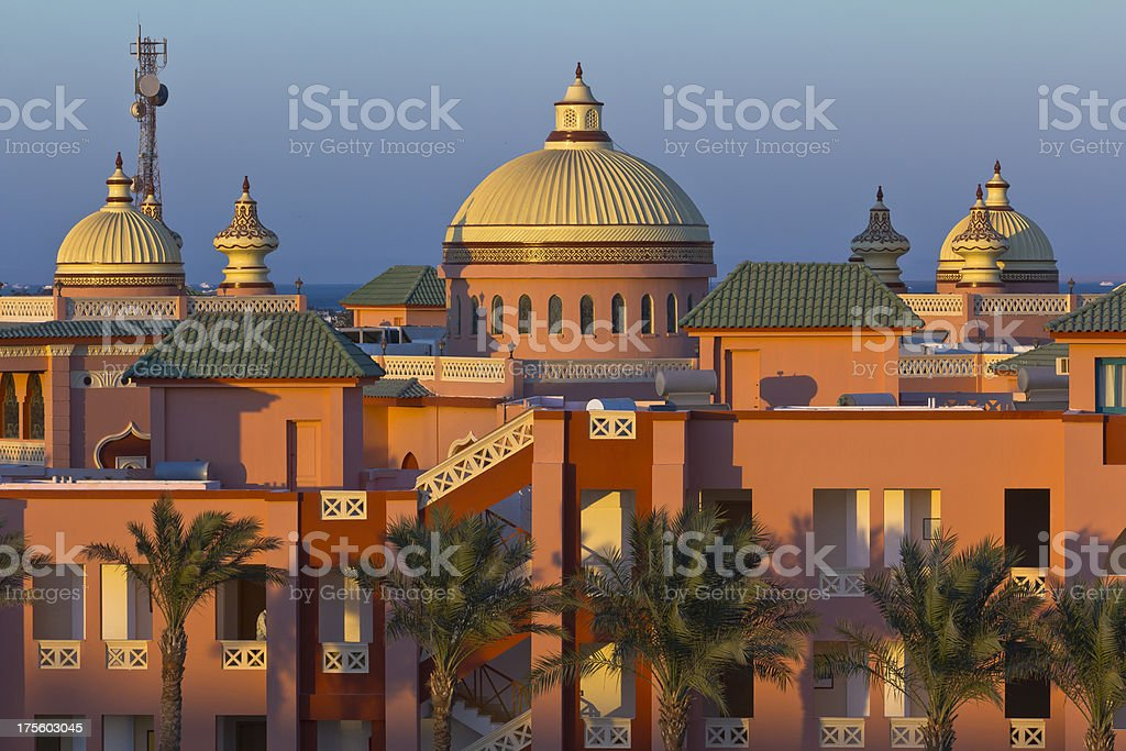 Sunset over Arabian resort stock photo