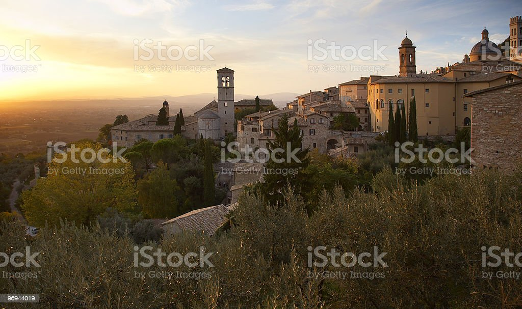 Sunset over Assisi stock photo