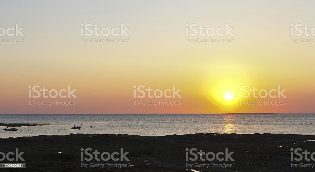 sunset over Atlantic ocean on Guerande Peninsula stock photo