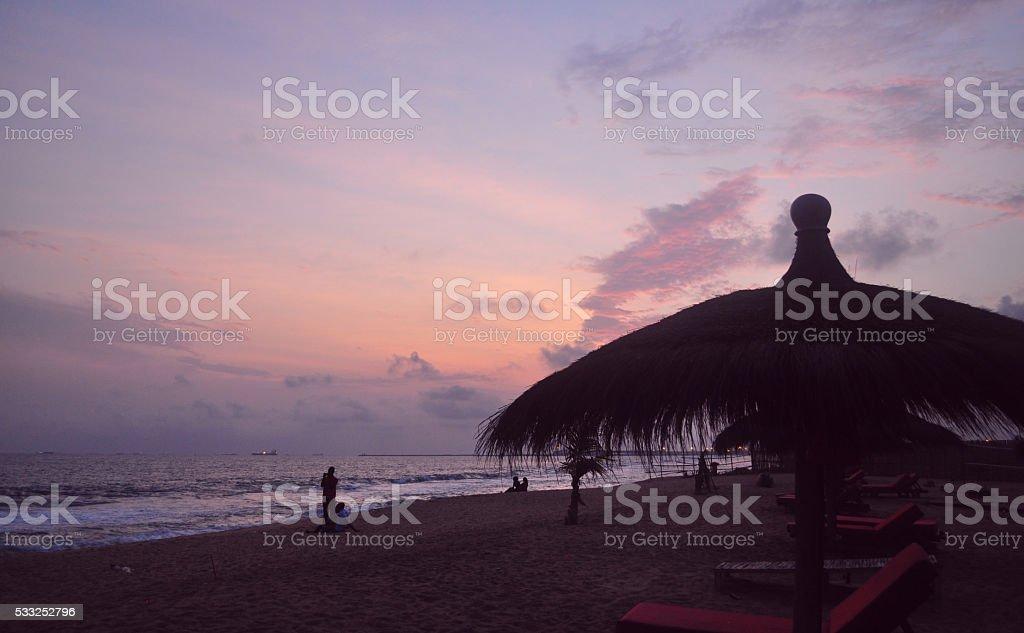 Sunset over Atlantic sky stock photo