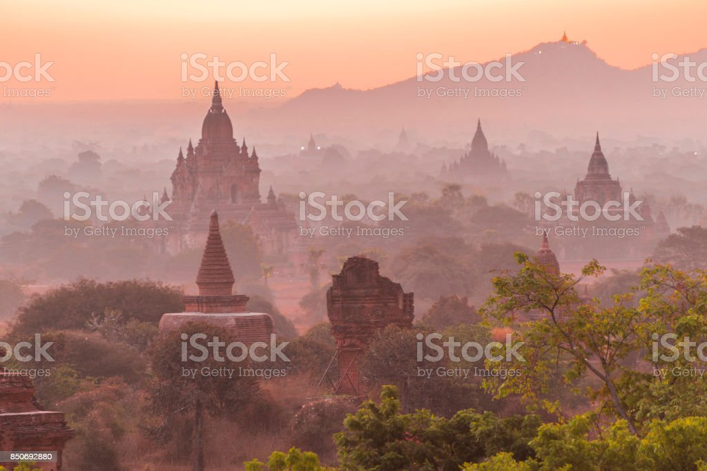 Sunset over Bagan stock photo