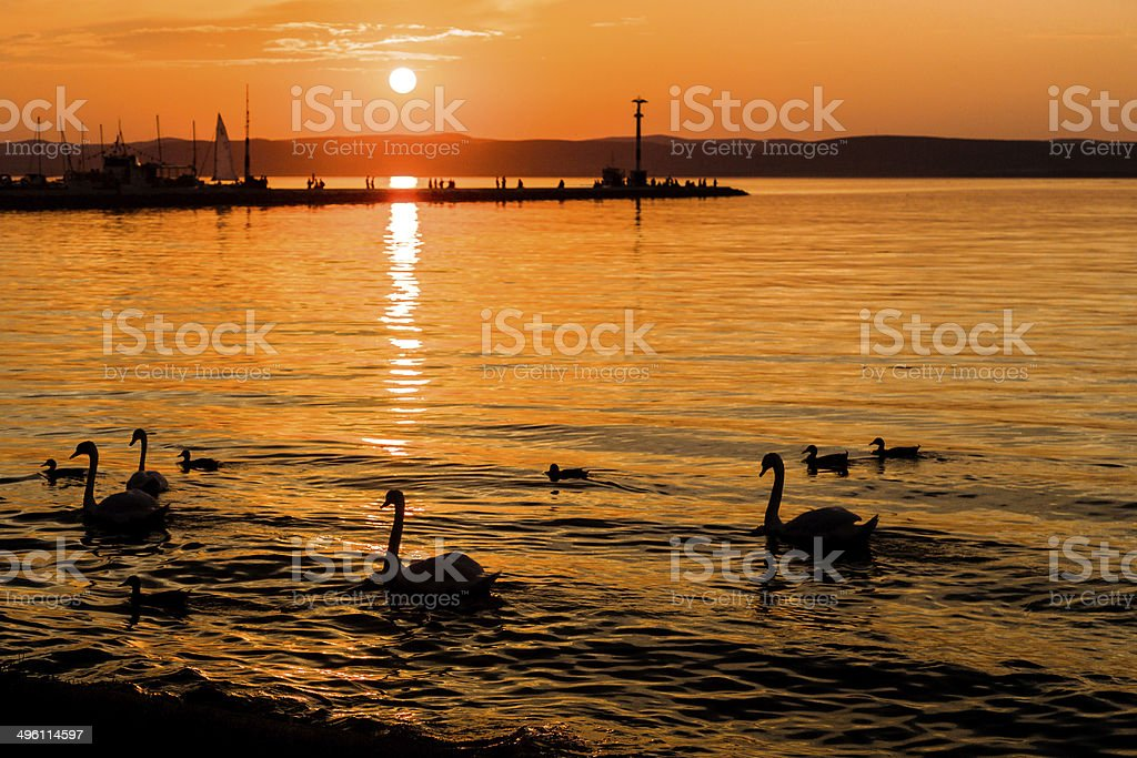 Sunset over Balaton Lake royalty-free stock photo
