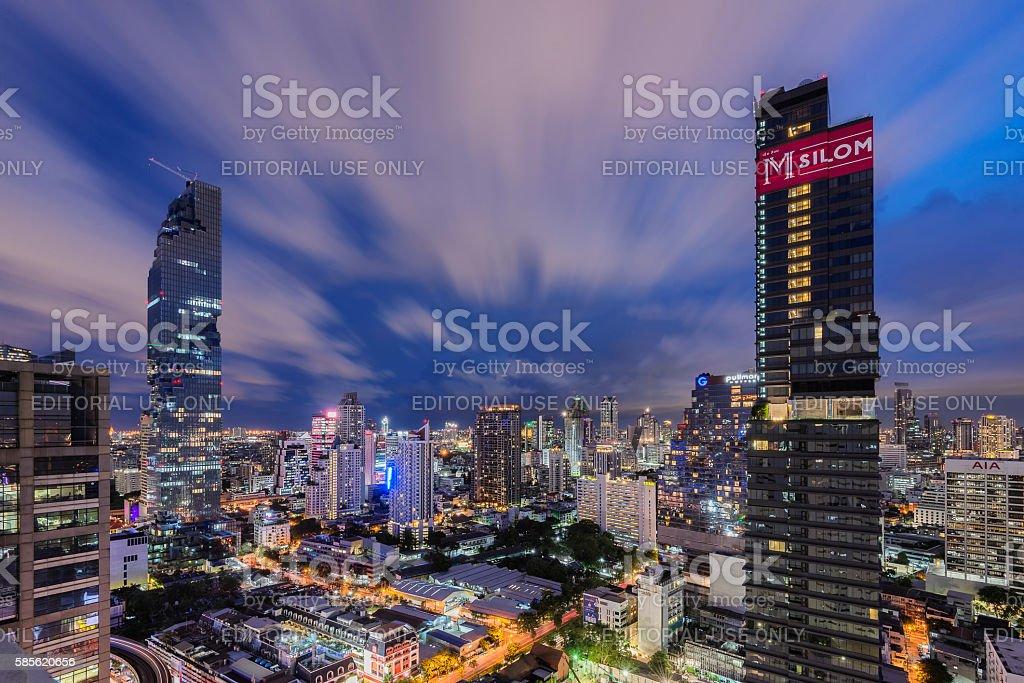 Sunset over Bang Rak District, Bangkok, Thailand stock photo