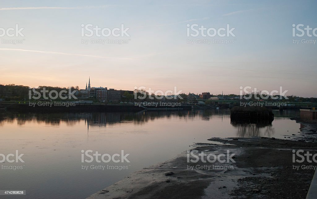 Sunset Over Bangor (Maine) stock photo