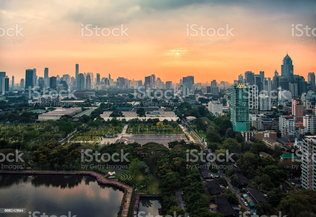 Sunset over Banjakiti park in Bangkok stock photo