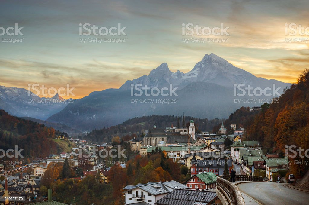 Sunset Over Bavaria's Watzmann Mountain and Town of Berchtesgaden stock photo