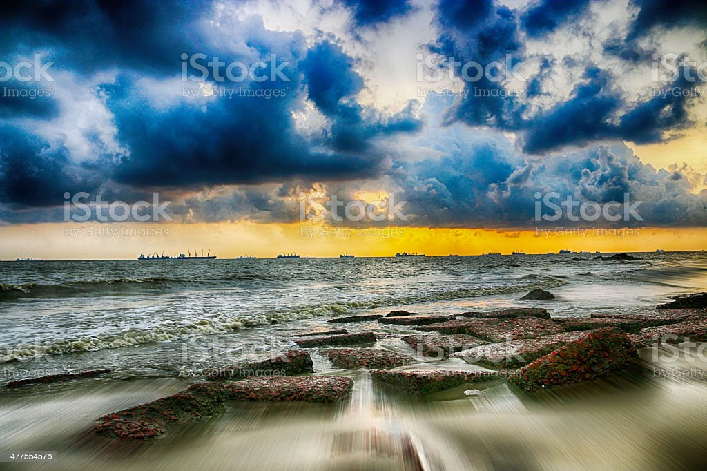 Sunset over Bay of Bengal II stock photo
