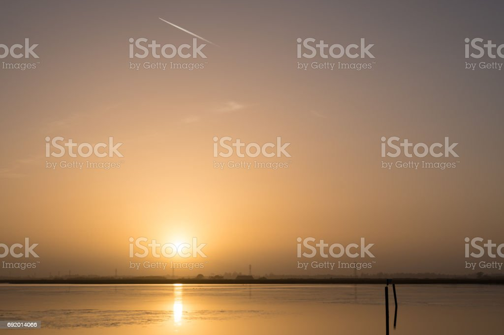 Sunset Over Bay stock photo