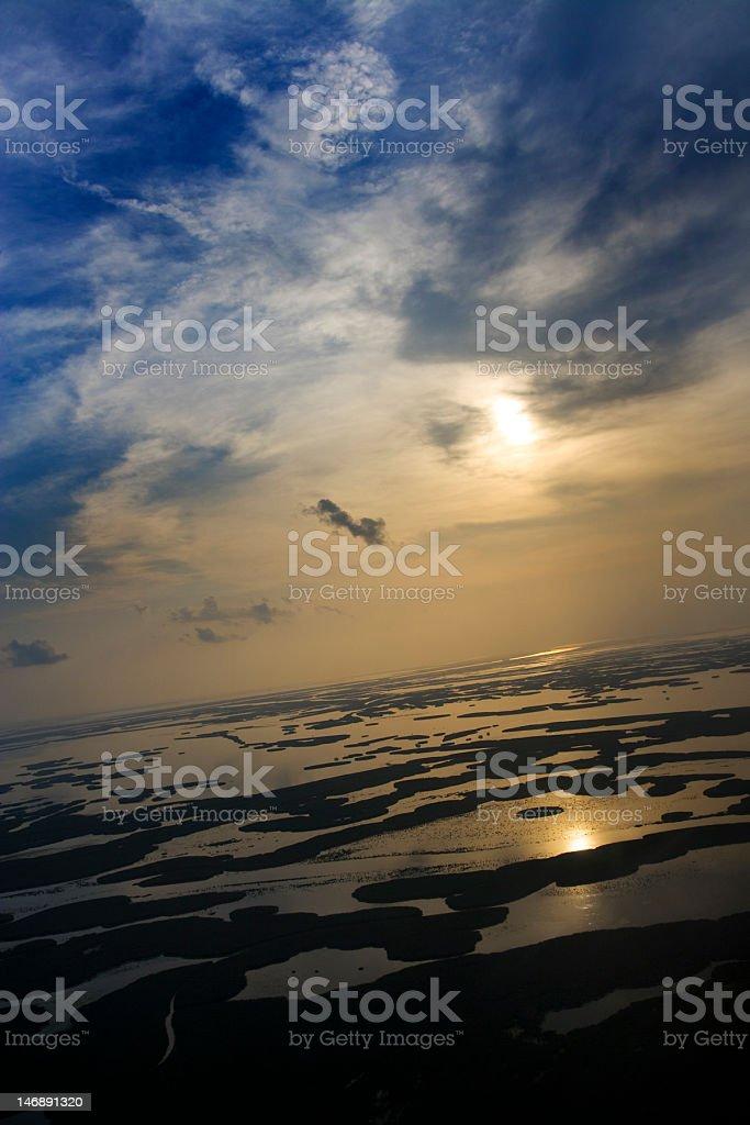 Sunset over Bayou royalty-free stock photo