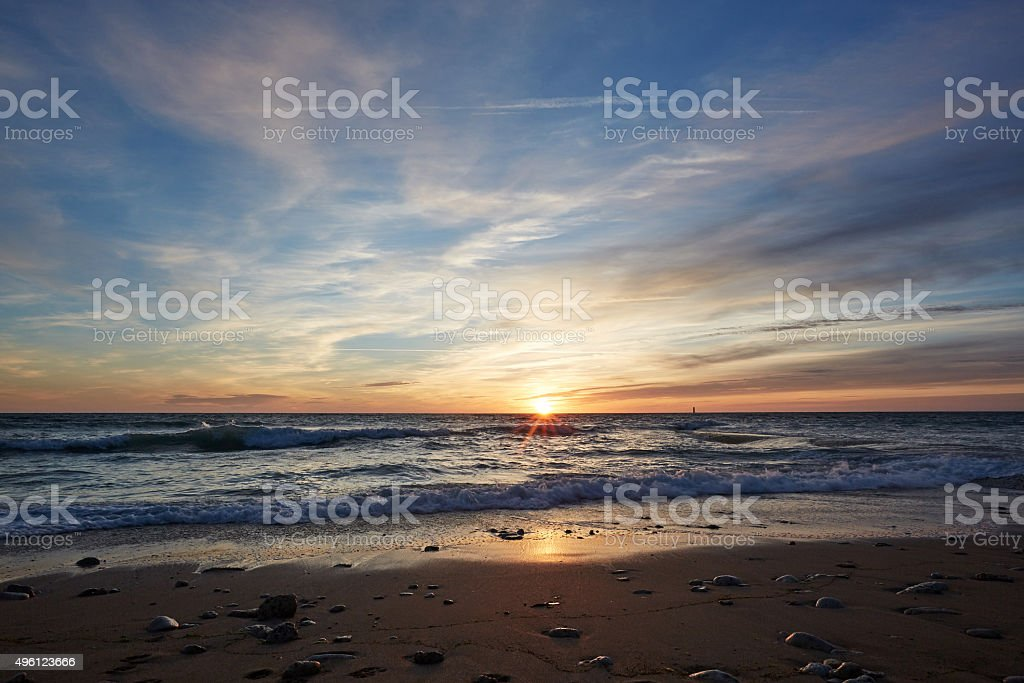 Sunset over beach at Ile De Re in France stock photo
