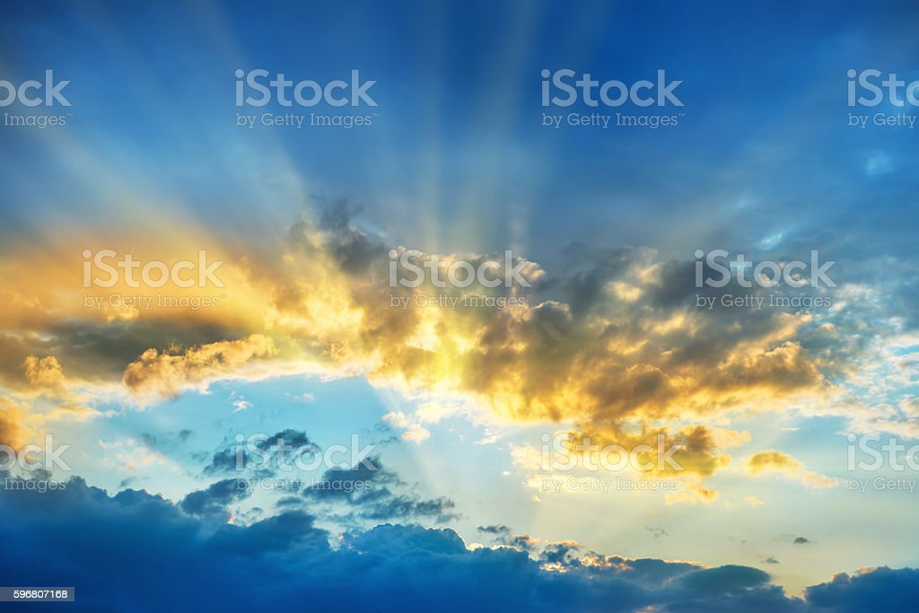 Sunset over beautiful blue sky stock photo