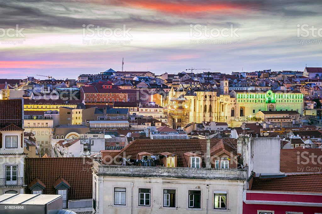 Sunset over beautiful Lisbon, capital city of Portugal stock photo