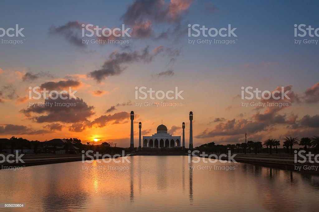 Sunset over beautiful mosque stock photo