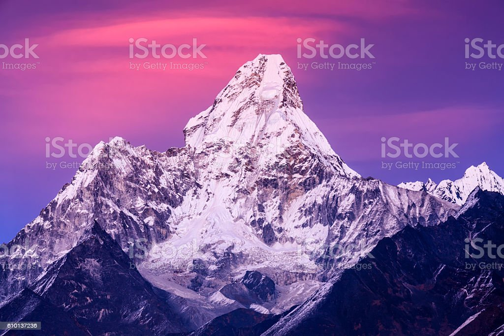 Sunset over beautiful Mount Ama Dablam in Himalayas, Nepal stock photo