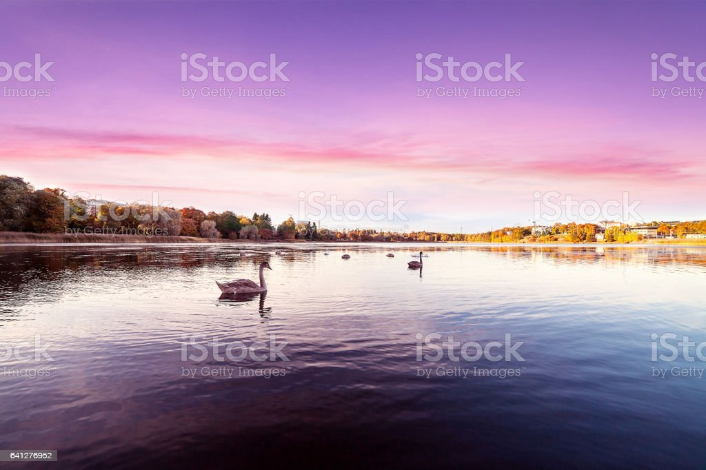 Sunset over beautiful relaxing landscape stock photo