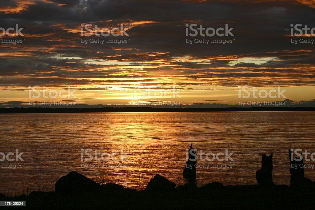 Sunset over Bellingham Bay stock photo