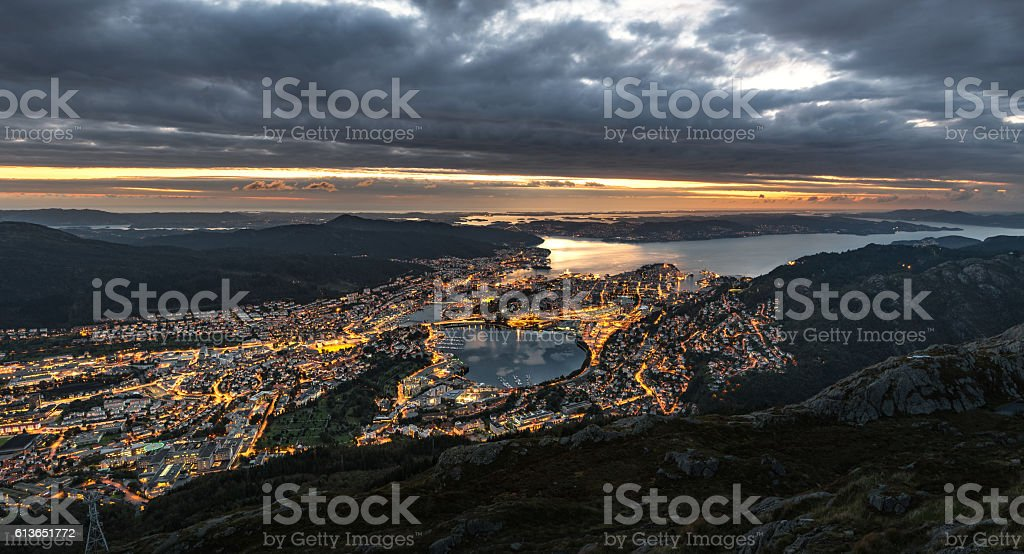 Sunset over Bergen stock photo