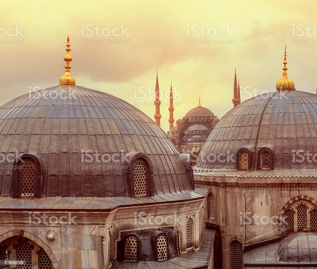 Sunset over Blue Mosque stock photo
