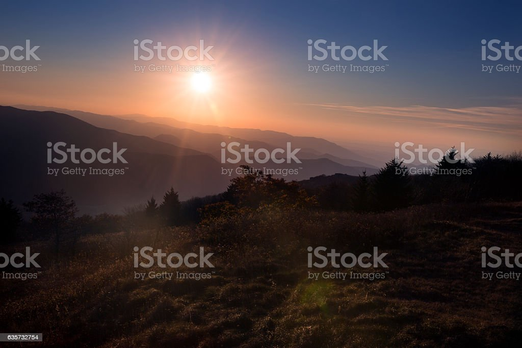 Sunset over Blue Ridge Mountains in Virginia stock photo