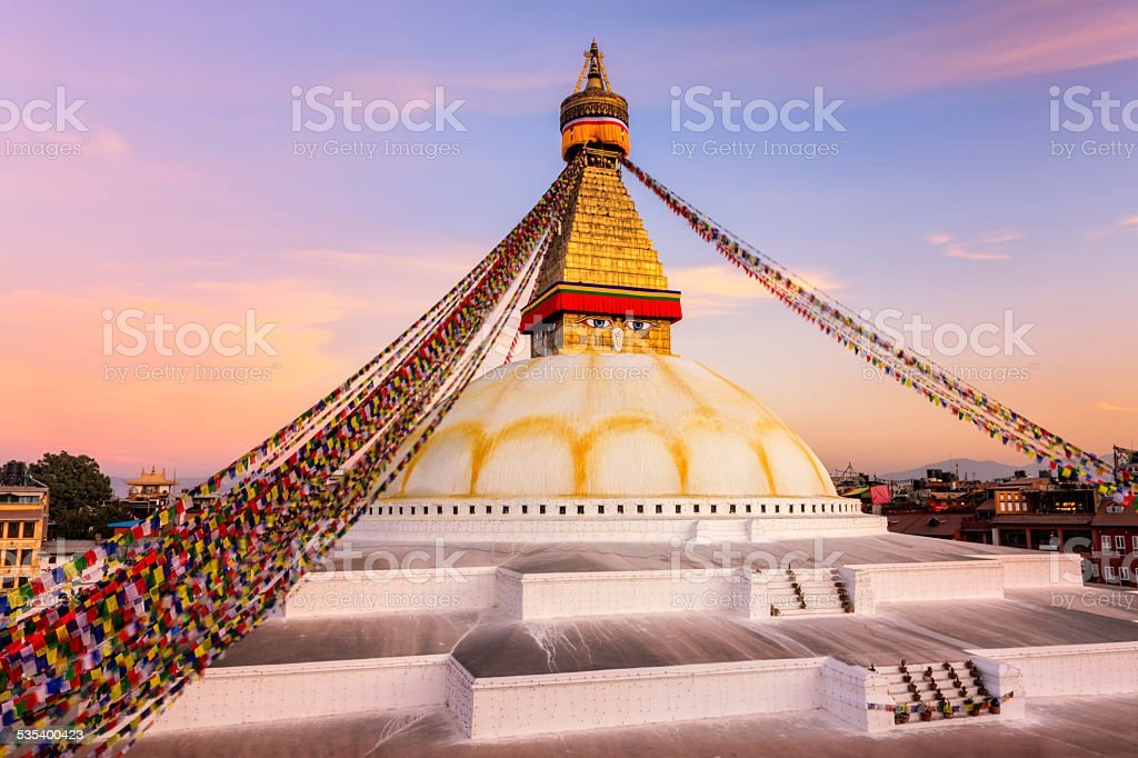Sunset over Boudhanath World's Largest Stupa, Nepal stock photo