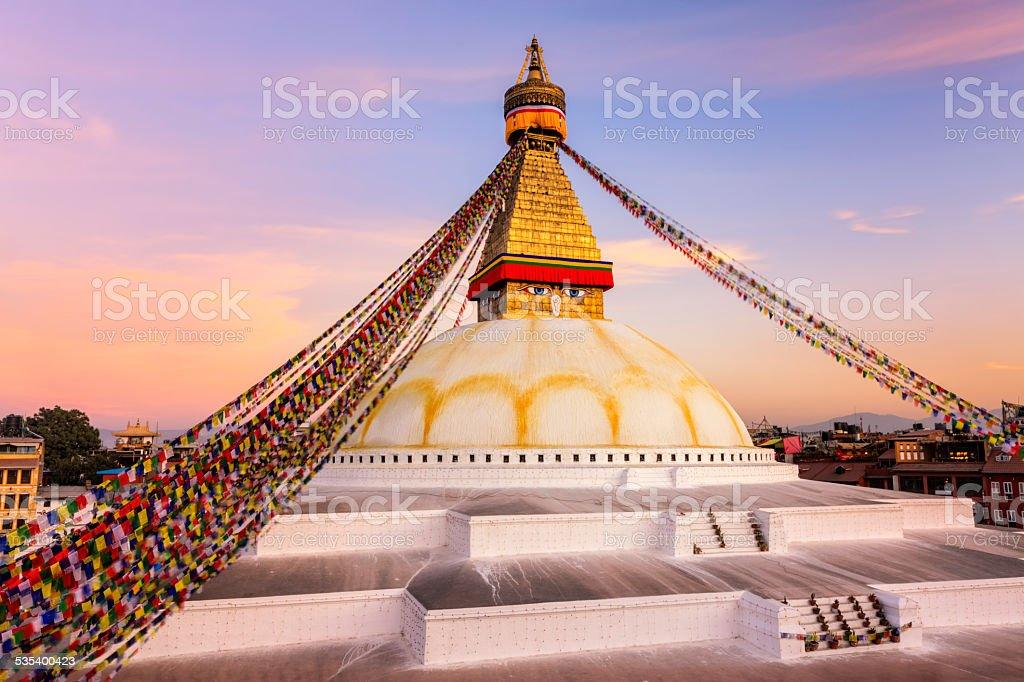 Sunset over Boudhanath World's Largest Stupa, Nepal stock photo