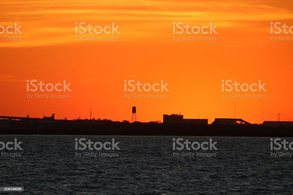 Sunset over Brunswick Georgia stock photo