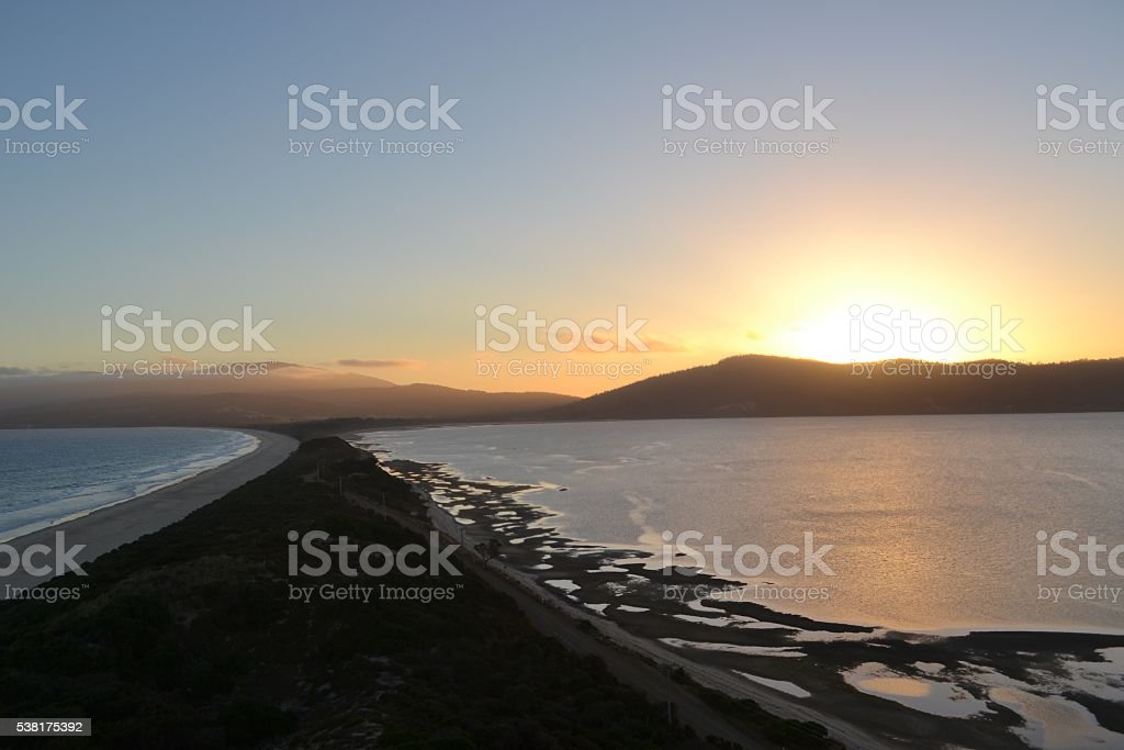 Sunset over Bruny Island isthmus in Tasmania stock photo