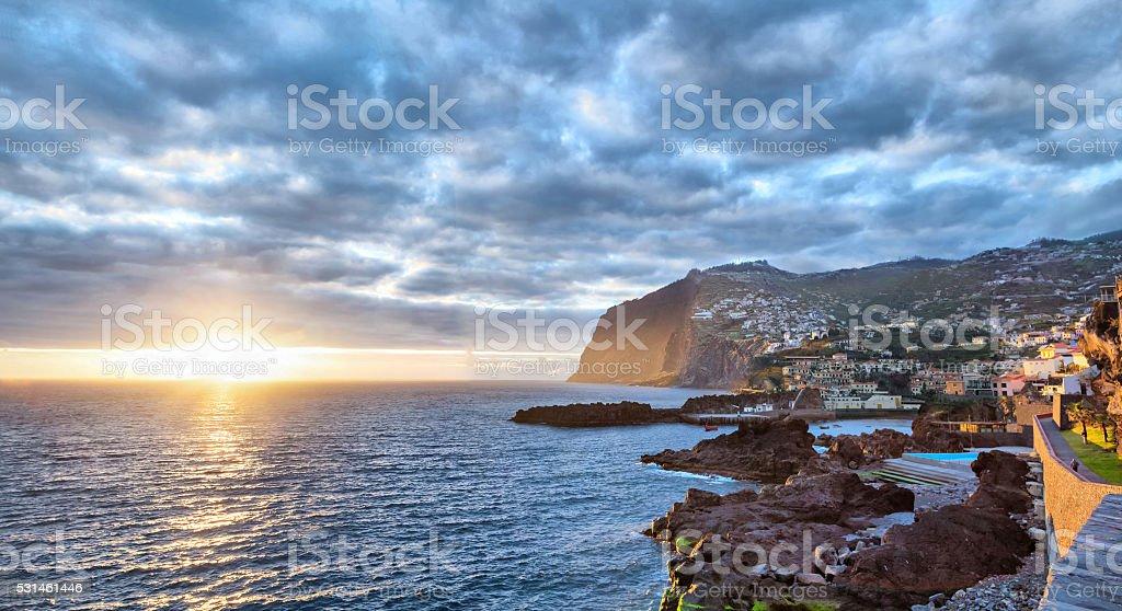 Sunset over Cabo Girao cliff, Madeira stock photo