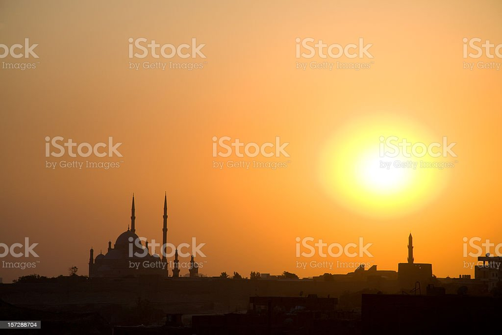 Sunset over Cairo Egypt royalty-free stock photo