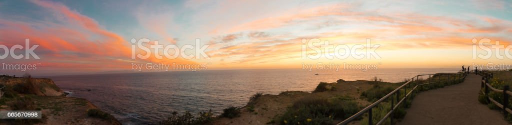 Sunset Over California Coast stock photo