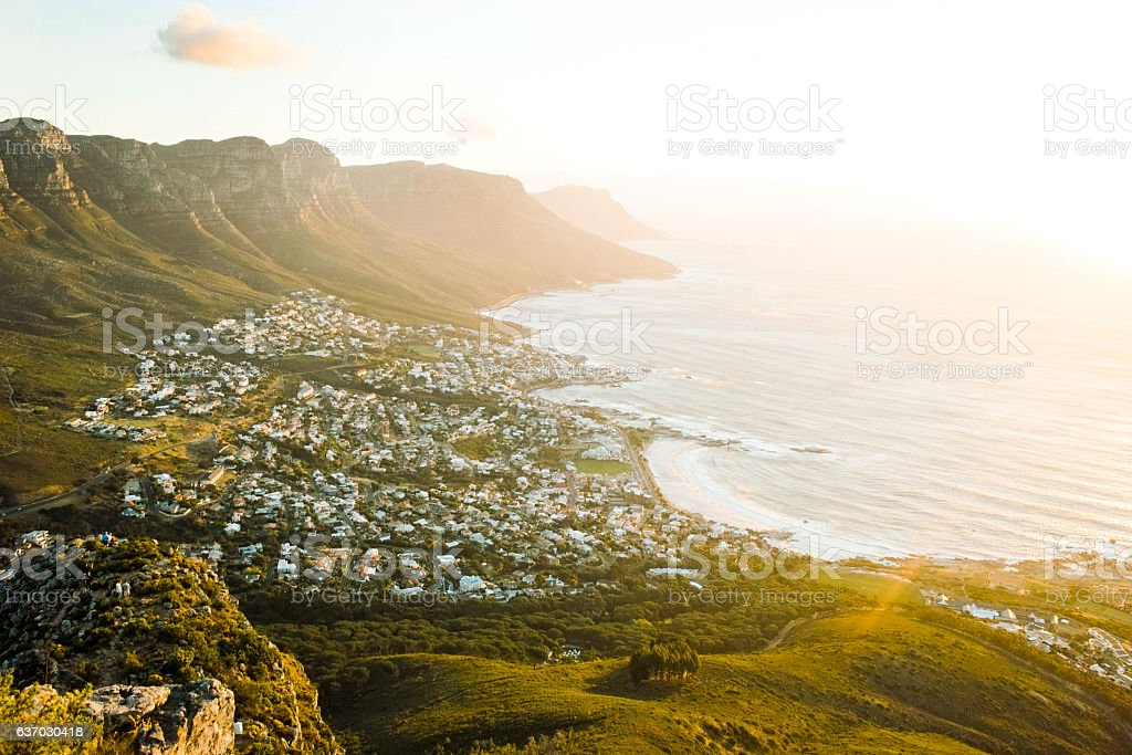 Sunset over Camps Bay stock photo