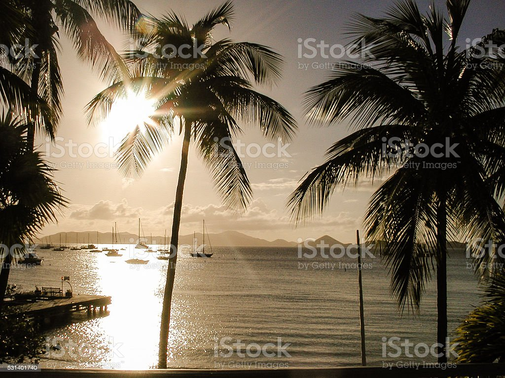 Sunset over Caneel Bay stock photo