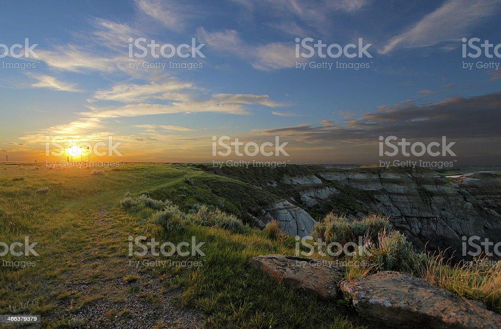 Sunset over canyon stock photo